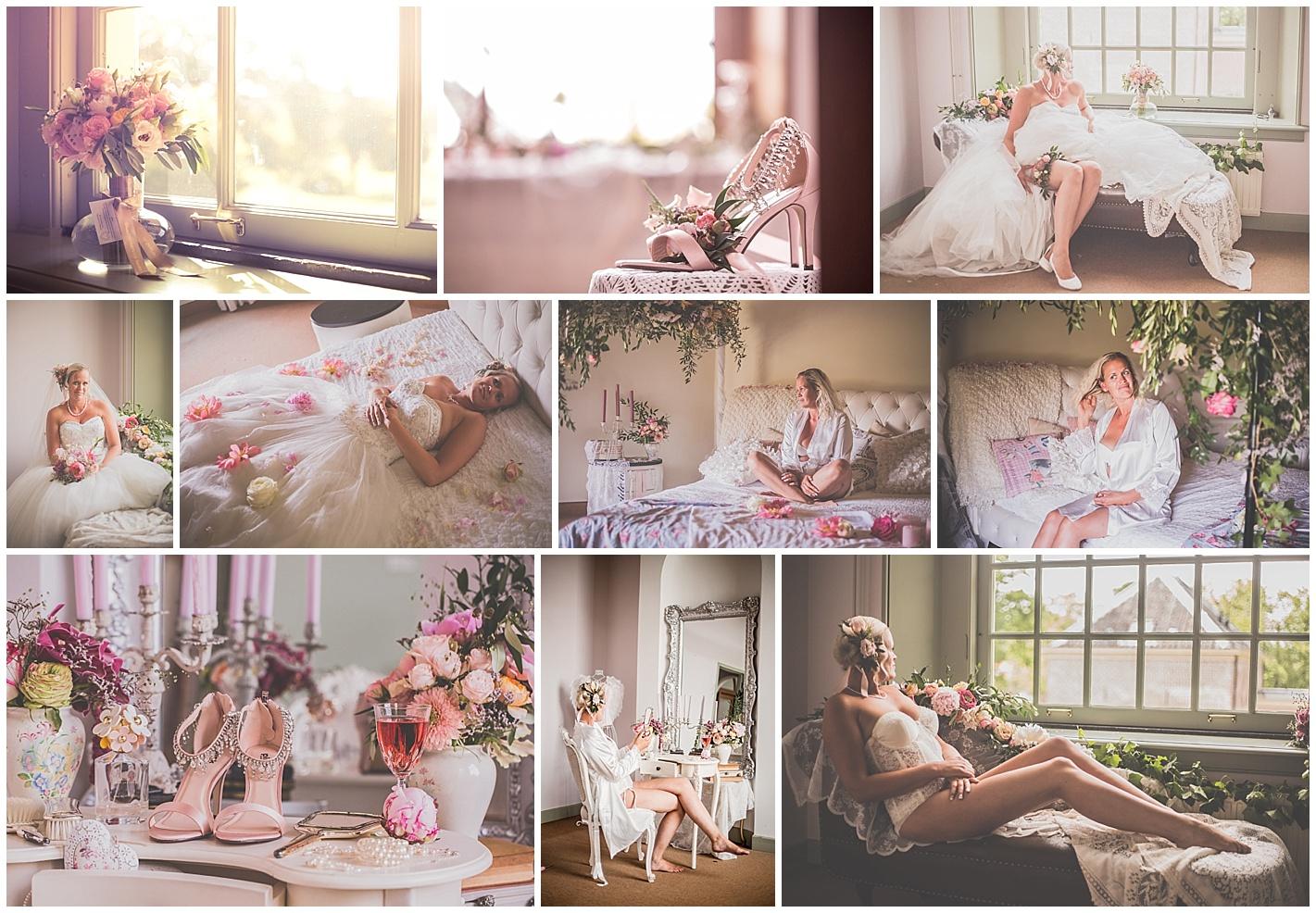 Bruidsbloemen en bruidsboeket bij bruidsboudoirreportage