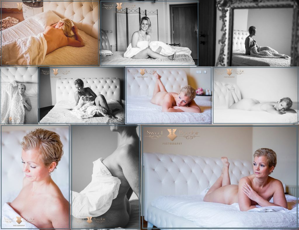 White sheet boudoir fotografie